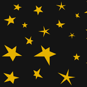 Stars - mustard yellow gold on black night || by sunny afternoon