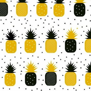 Pineapples - geometric mustard yellow and black monochrome gold || by sunny afternoon