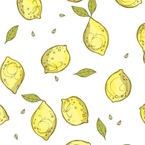 Lemons, on white