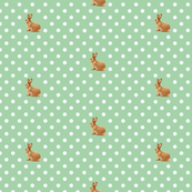Polka Dots and Bunnies in Vintage Green