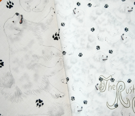 Trotting Great Pyrenees and paw prints - tiny white