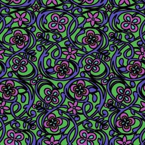 Flower Garden - Fuchsia/Blue Violet/Fern