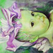 Iris Princess 4 - Tea Towel - lime green, lavender