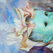 Iris Princess 5 Tea Towel - teal, blue, beige