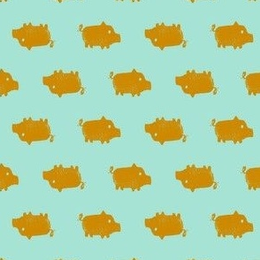 Lil Pigs (Gold and Teal)