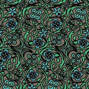 Sea Garden Floral - Viking Blue/Kokoda/Sea Green Emerald