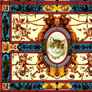 baroque rococo stained glass cats cherubs angels swags victorian mythical roman Greece Greek floral scrolls tortoises satyrs harpy harpies spiders hippocampus antique