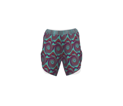 AW4 - Rolling Circular Waves and Zigzag Pyramids, turquoise, maroon and purple,  small scale,  half brick repeat