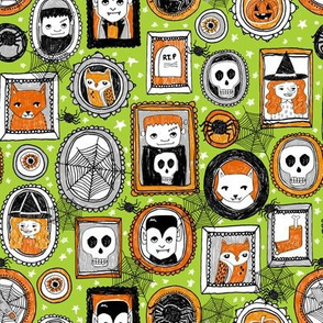 halloween portraits // acid green cat owl spider kids skulls witch cute halloween spooky fabrics