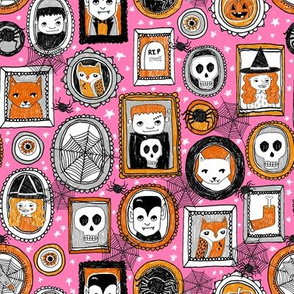halloween // pink orange black girls october halloween fabric