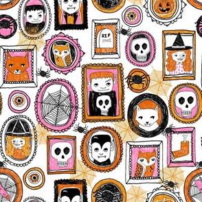 halloween // pink orange girls creepy scary october skull spiders witches owls hocus pocus