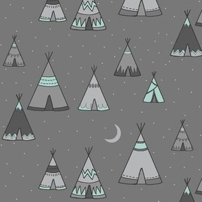 TeePee Village - grey/mint