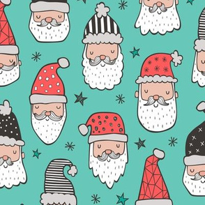 Christmas Santa Claus with Stars on Mint Green