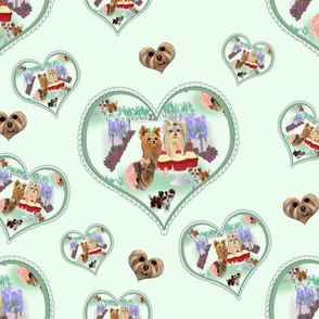 Yorkie Birthday Garden Party - Matching Hearts