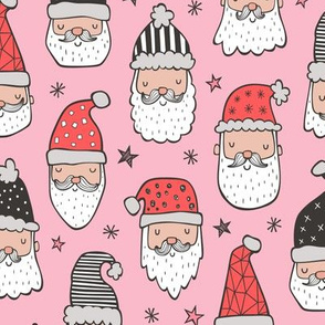 Christmas Santa Claus with Stars on Pink