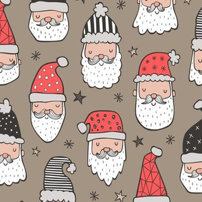 Christmas Santa Claus with Stars on Brown
