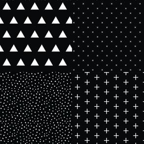 Fat Quarter Bundle // Blackest Black Triangles, X, Snow, Skinny Plus