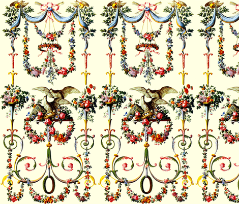 Victorian leaf leaves swags curtains ribbons bows arrows birds flowers floral roses festoons