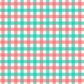 Coral and Mint Gingham