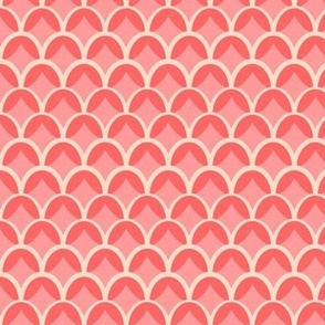 Coral and Pink Geometric Scallop