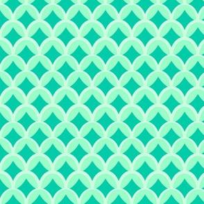 Mint and Green Scalloped Geometric