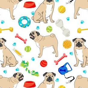pugs pug dog dog toys cute dog bone pug fabric for pug owners