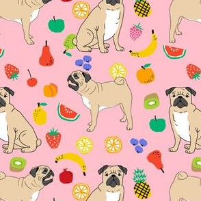 pug pug pugs pug dog dogs cute pug fabric summer pink fruit summer tropical dog fabric for pug owners pug quilt dog quilters sewing