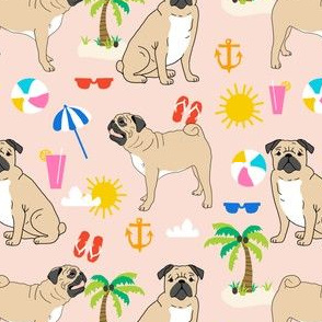 pugs pug beach tropical blush sweet pug fabric summer flip flops beach ball happy pugs