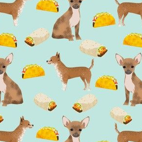 chihuahua food taco dog dogs pet dog cute chihuahua fabric with tacos burritos food novelty dog print