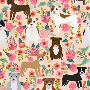 pitbulls pitbull terriers dog peach flowers florals pet dogs cute dog best dog fabric