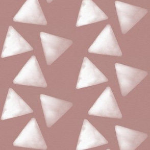 Watercolor triangles - white on mauve geometric trendy baby girl || by sunny afternoon