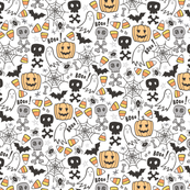 Halloween Doodle with Skulls,Bat,Pumpkin,Spiderweb,Ghost on White Tiny Small