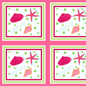 Shell play quilt - raspberry lime punch