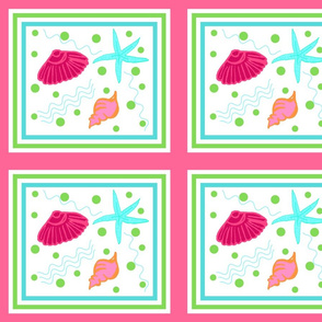 Shell play quilt - berry  lime punch