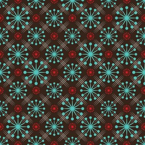 Mid Century Starburst Turquoise and Red on Brown