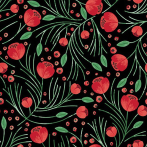 Christmas Floral // Black
