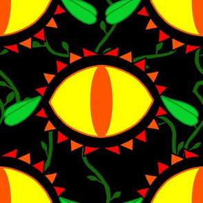 Cat Eye Flowers Bold Orange Yellow REd