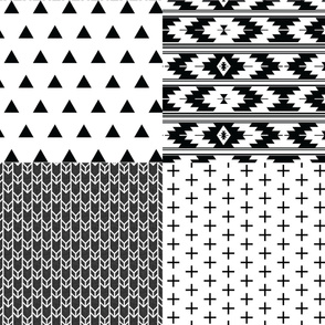 Fat Quarter Bundle // Black Linen Double Chevron, Skinny Plus, Triangles, Kilim