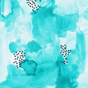 hand-painted watercolor abstract // aquamarine