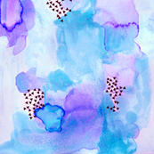 hand-painted watercolor abstract // blue + lavender