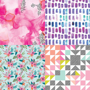 Fat Quarter Bundle // Pink Sprigs and Blooms, Pink Watercolor Abstract, Neon Brights Wholecloth, Mermaid Watercolor Mosaic