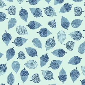 acorns large, navy and blue on mint