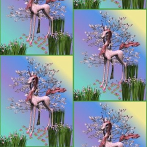 Pink Unicorn and Spring Flowers Small
