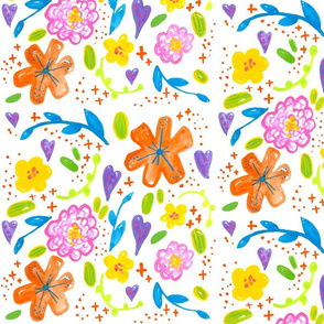 Happy floral // spring summer rose tiger lily flowers trendy modern sweet girly pink orange botanical boho tamara arcilla tamara_arcilla