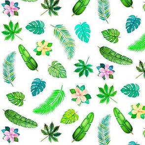 Tropical Leaves and Hibiscus