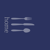 Home + Silverware Tea Towel on Navy