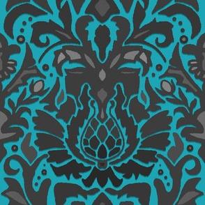 Aya damask blue