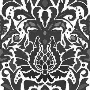 Aya damask black white mono