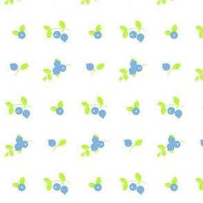 Maine Blueberries in Lime and Light Blue - Smaller Ditzy Version