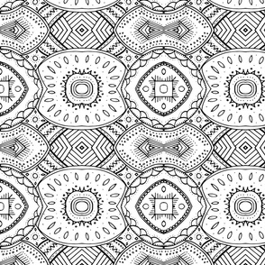 Lace-like Mandala Design Black and White - Horizontal